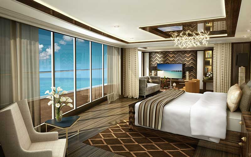 The master bedroom in the 3,875-square foot Regent Suite.