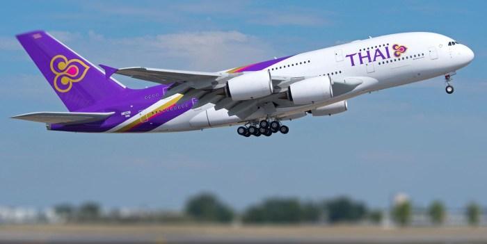 thai airways travel wide flights