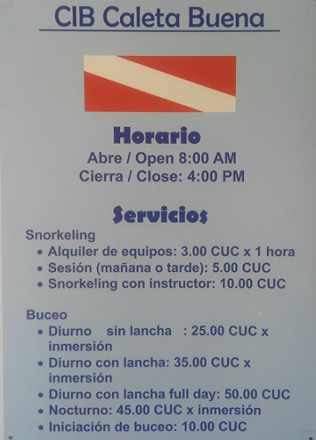Costs for snorkeling and diving at Caleta Buena