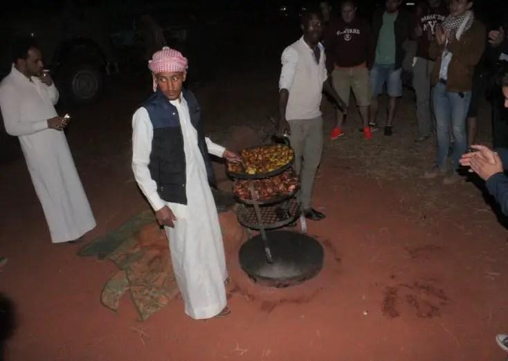 Food cooked in the ground, Wadi Rum, Jordan