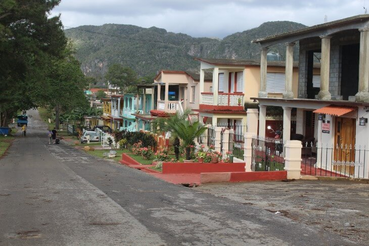 Houses at the main street in Vinales