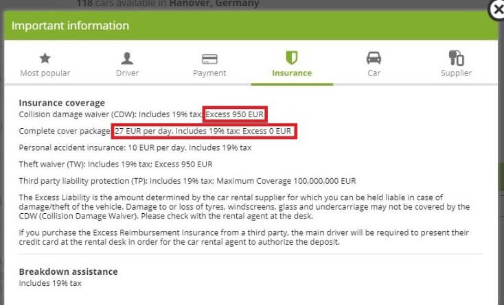 Insurance Basic car rent