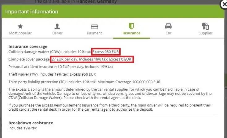 Insurance Basic car rent