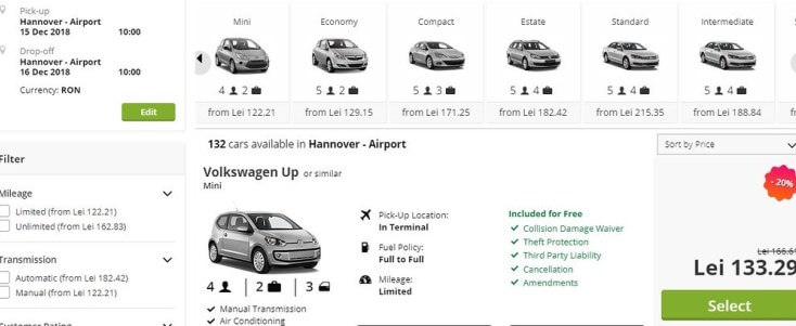 Car rent one day