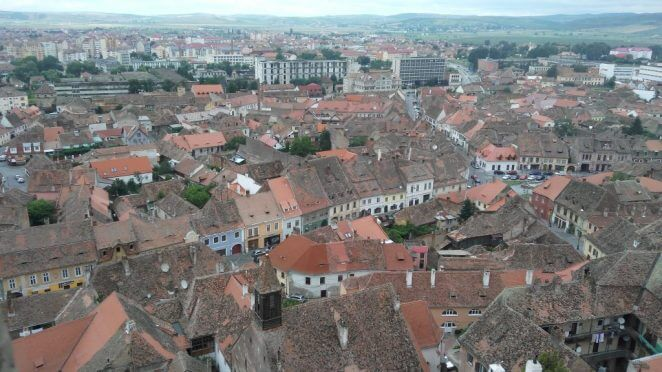 Sibiu from the top of the Evangelical Church