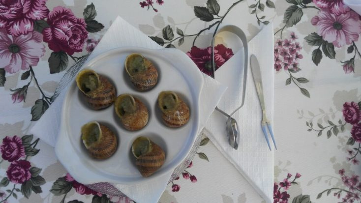 Snails with butter and herbs at Eco-Telus, Bulgaria