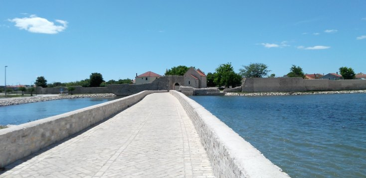 The old city of Nin lies on a 500 broad islet, Croatia