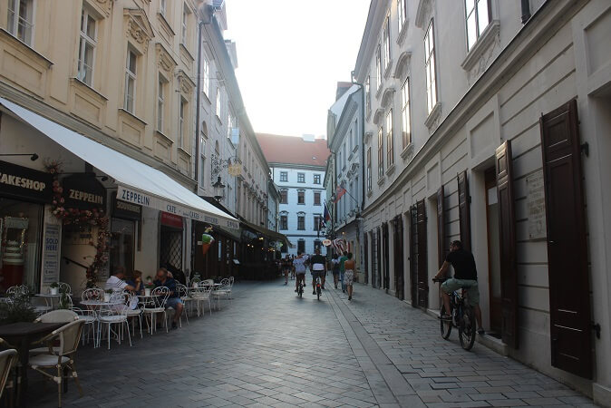 Picturesque side street in the city center of the city