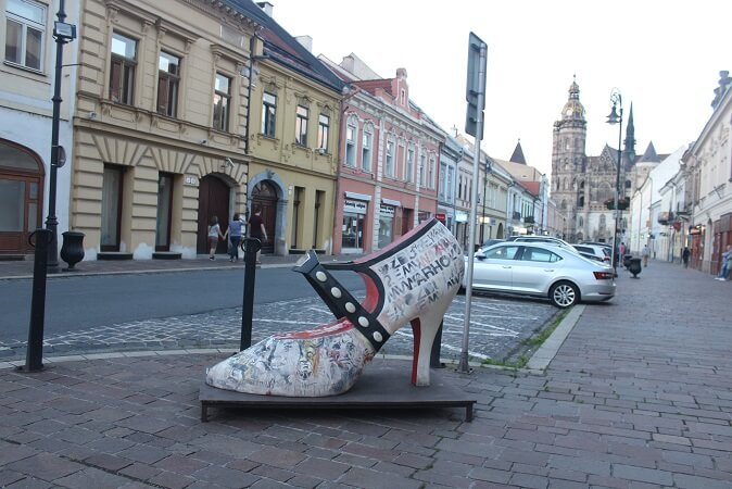 Huge shoe in honor of Andy Warhol in Kosice
