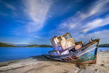 Old Boat washed up on beach
