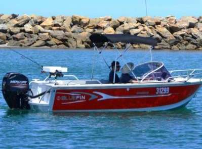 The Bluefin Weekender vessel in the water at North Haven Boat Ramp, available to hire from BA Boat Hire Adelaide