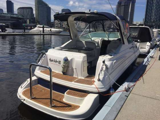 Stay overnight on Boat4Hire Mustang 28 Sport Cruiser in Docklands, Melbourne