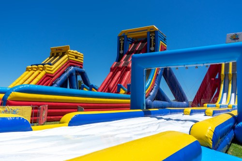 West Beach Adelaide Outdoor Inflatable Water Park Slides