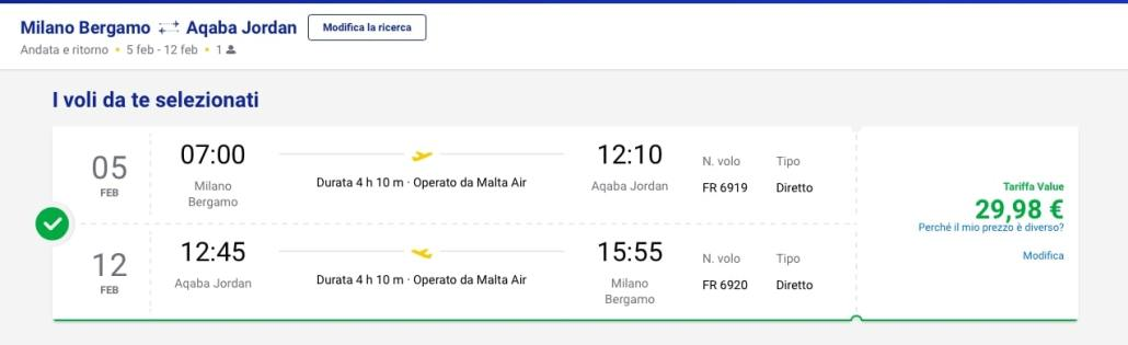 Ryanair petra 5-12 febbraio