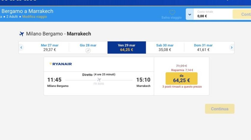 screenshot ryanair 2 persone
