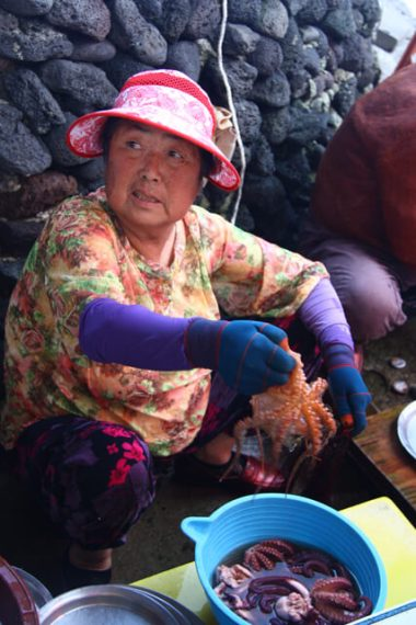 Korean Fish Market with Octopus