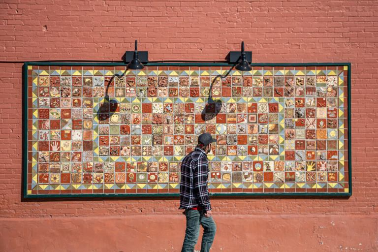 A Passerby Looks at Carol Bradley's Tile Project