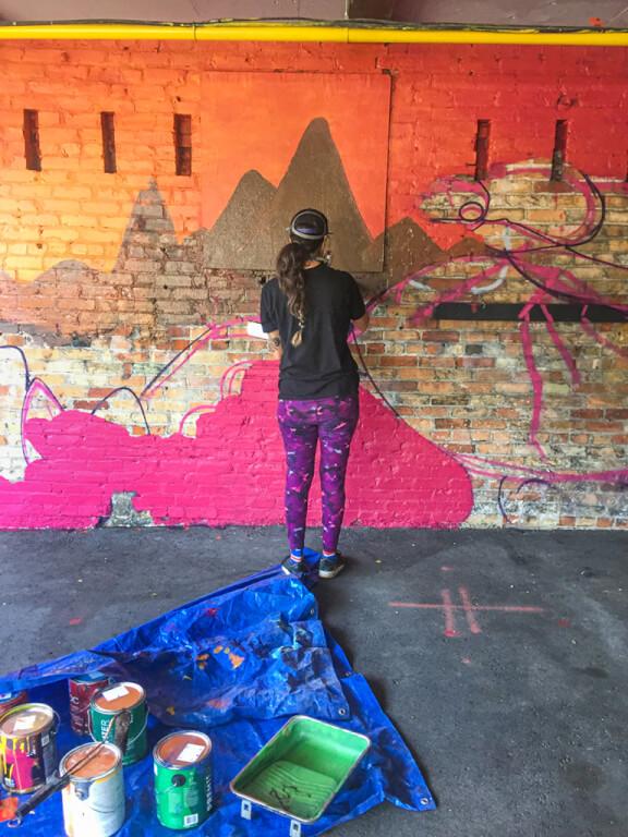 Shalak Attack Paints Halls Lane Mural in Downtown Kitchener