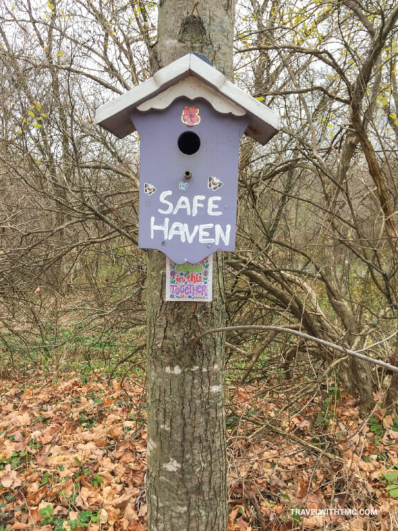 Birdhouse along the Health Valley Trail during covid times in St Jacobs Ontario Canada