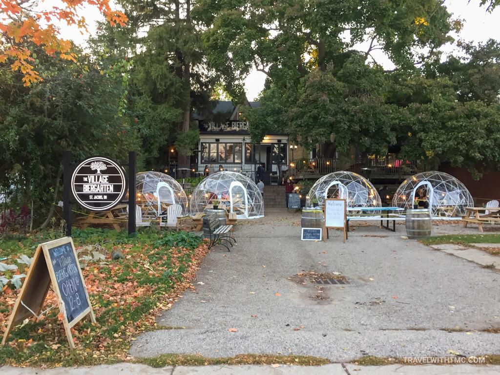 The Village Biergarten covid dining bubbles
