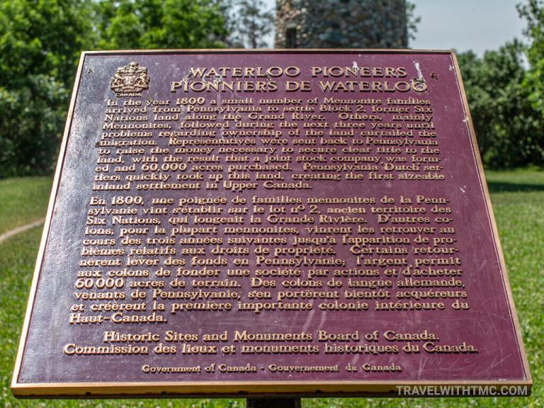 Historic Sites of Canada Plaque at Waterloo Pioneer Tower