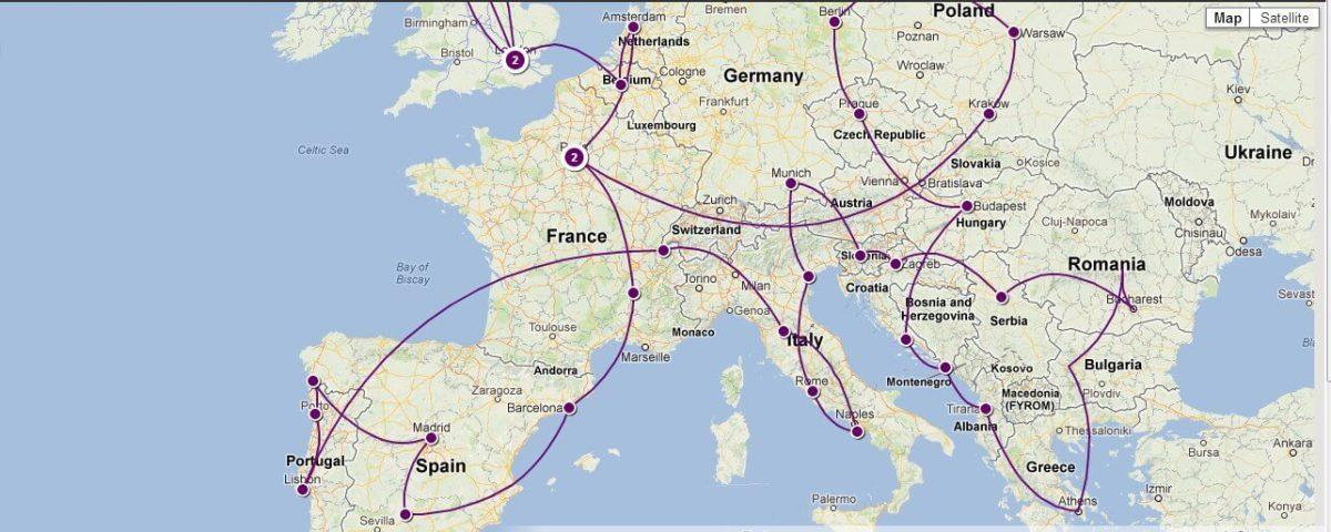 Travel Europe Trip Map