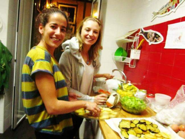 Two girlfriends in hostel