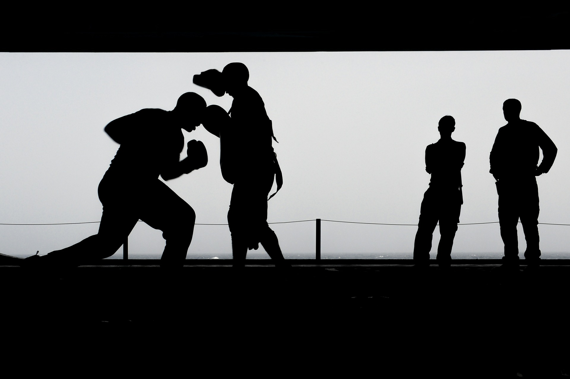 Staying fit while travelling - two people boxing