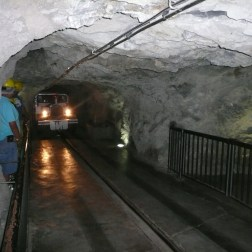 A glass walled train guides tourists through the rest of the mine.