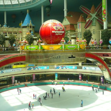 The center of Lotte World is hollow, with either a skating rink, or a concert stadium in the bottom.