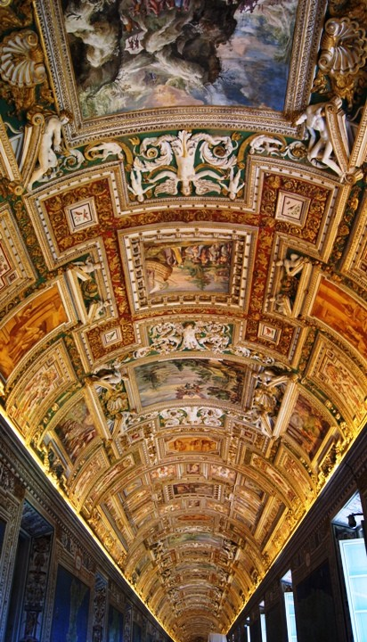 This is the ceiling along a corridor of the Vatican Museum.