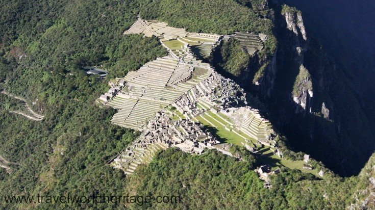 As seen from Wayna Picchu, the large mountain behind the ruins. Only 400 people are allowed to enter a day.