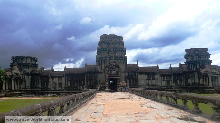 The front door to Angkor Wat, looking from the bridge that crosses the moat.
