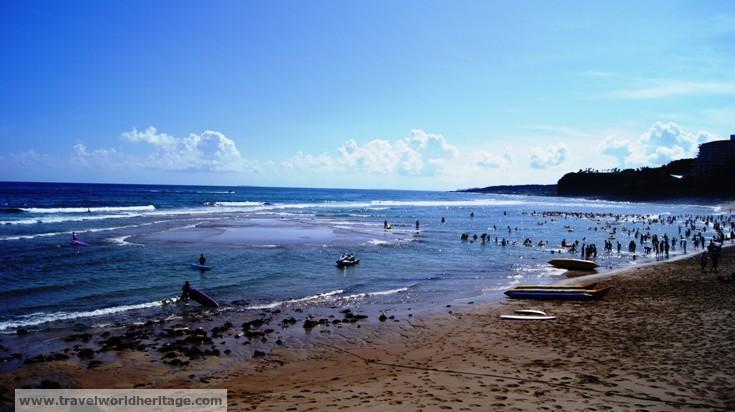 Jungmun Beach has many cool sandbars.