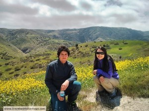 On the easier and more photogenic of the hikes, Danny and Christine take a break.