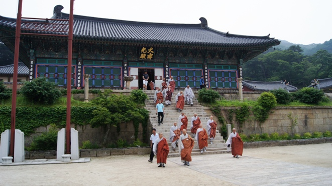 The monks at Haeinsa start the ritualistic climb up to Gayasan mountain.