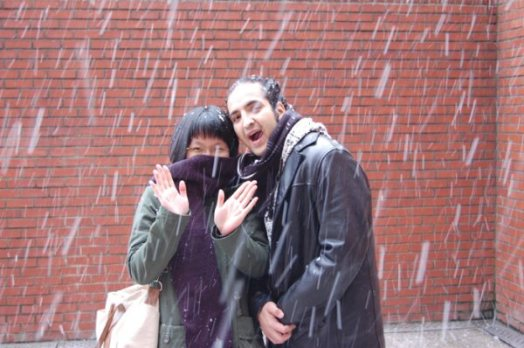 My first time seeing snow fall.