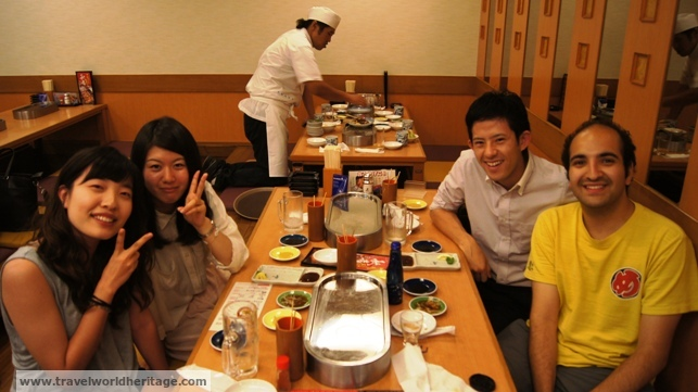Having some skewers with our host Yasuharu, his friend, and Sidney.