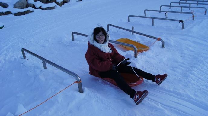 Sid sledding in Taebaeksan
