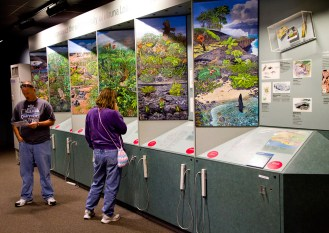 Kilauea Visitor Center at Hawaii Volcanoes National Park offers information and exhibits aimed at orienting visitors to one of the world's most active volcanic regions, Big Island, Hawaii. Photo by Dave Houser.