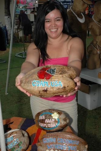 Guam-Chamorro Village-girl w-coconut
