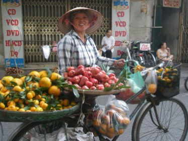 Street vendor on bicycle