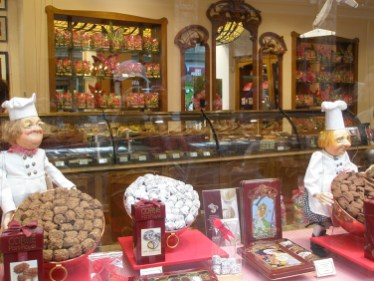 Chocolate shops abound with eye-popping confections lined up like trophies in the windows. Photo Credit: Deborah Stone