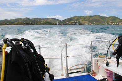 "Dive Boat on the way: On the way to Salt River Canyon, one of St. Croix's best sites for wall diving."" Photo Credit: Debbra Dunning Brouillette"