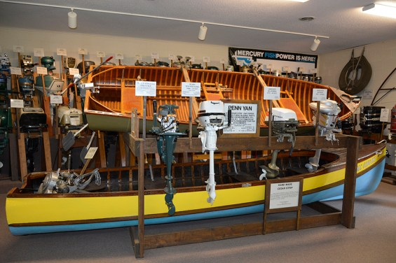"Boat Motors at Fresh Water Fishing Hall of Fame & Museum."" Photo Credit: Linda Askomitis"