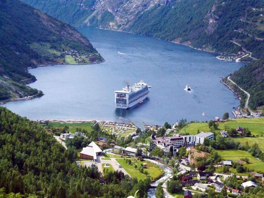 Geirangerfjord-Our cruise ship anchored off the town of Geiranger