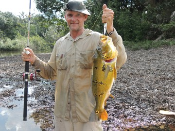 Colonel Angonese with a beautiful Peacock Bass. Photo credit: Jeffrey Lehmann