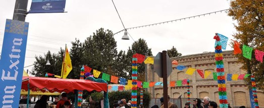Colorful decorations livened up teh vendor's area at San Antonio's annual tamale festival. Photo Credit: Leslie Long