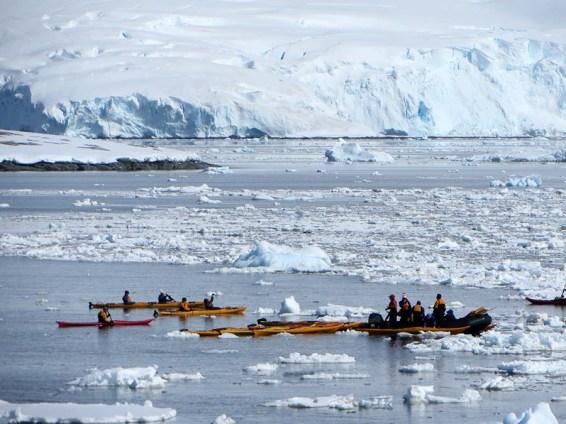 Kayaking in ice water. Photo Credit: Deborah Stone