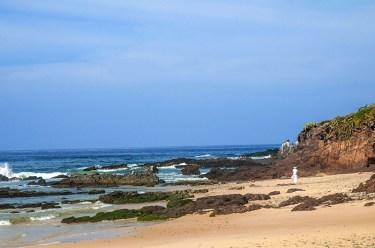Rocky ocean shore facing La Palapa beach club